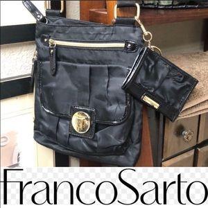 Franco Sarto Nylon Crossbody Black Purse Bag